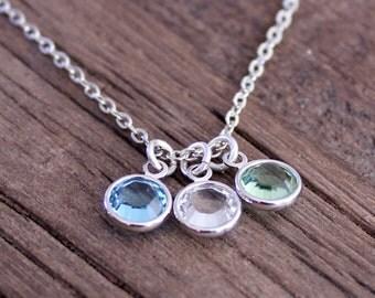 Swarovski Crystal Birthstone Necklace, Sterling Silver Necklace, Mother's Necklace, Customized Birthstone Necklace, Swarovski Channel Charm