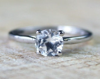 Sterling Silver Cubic Ring Zirconia Solitaire Wedding Engagement FREE SHIPPING Size O / 7.25