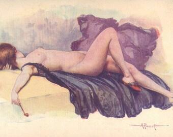 Pipe Dream, Albert Penot, Risque Illustrator Image, French Postcard circa 1910s