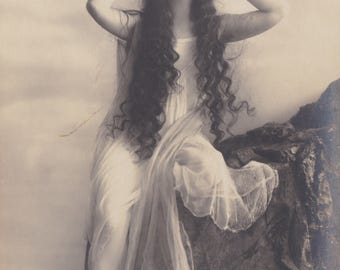 Long-Haired Ethereal Beauty 4, Vintage German Postcard by Rotophot, circa Early 1910s