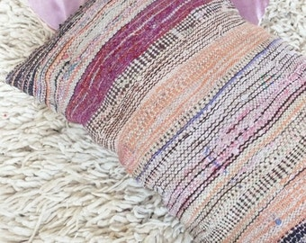 Long Moroccan Kilim Cushion - BOUCHEROUITE - Fringes