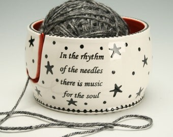 Ceramic Yarn Bowl for Knitting and Crochet, Knit Happy - Hand Painted Stars and Dots Universe, Fiber Twine Bowl, Knitting Quote