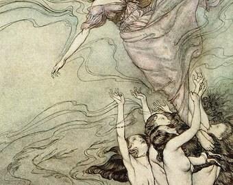 Water Nymphs,  Arthur Rackham, Vinatge Art Print