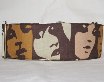 Faces Martingale Dog Collar - 1.5 or 2 Inch - brown green tan facial expressions art