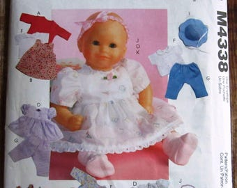 Baby Doll Clothes in Two Sizes: Jacket, Jumper, Romper, Dress, Top, Pants, Panties McCalls Crafts Pattern M4338 UNCUT