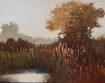 Postcard 1 - Landscape oil painting, trees, pond, cool misty morning