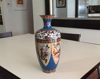 Japanese Cloisonne Vase/Meiji Period/Japanese Vase/Goldstone Petals Shield Vase/Japanese Art Vase/By Gatormom13