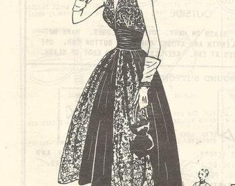 1950s Cocktail Dress Halter Top Bouffant Skirt V Neckline Bolero Modes Royale 830 Factory Folds Sz 16 Bust 34 Women's Vintage Sewing Pattern
