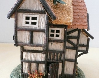 Charming Paper Mache English Tudor Cottage - Thatched Roof Cottage