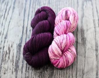 Merino Light Shawl Kit - Wine and Frenchie - Colour Adventures (fibers: superwash merino)