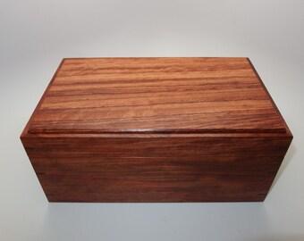 "Fine Exotic Bubinga Keepsake Box. 10"" x 5.5"" x 4.5"". Handcrafted Wooden Memory Box."