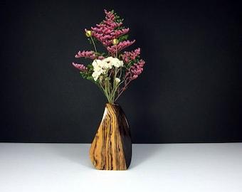 Handcrafted Scupltured Wooden Bud Vase. Weed Pot. One-Of-A-Kind Artisan Vase. Freeform Shaped Bud Vase. Floral Arrangement. Refined Decor.