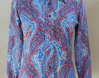 """Vintage 70's Le Soft Shirt by Lady Manhattan Paisley Print Long Sleeved Blouse Bust 36"""" Waist 33"""""""
