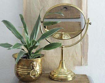 Vintage Brass Swivel Mirror