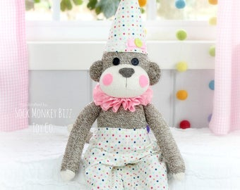 Sock Monkey Birthday Girl Clown, Children's Doll, Limited