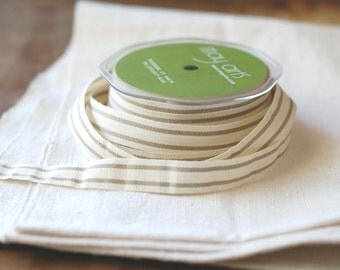 "30 Yard Spool of Ribbon - French Stripe NATURAL & CREAM - Natural Cotton, 5/8"" wide"