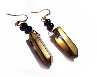 Gold Titanium Quartz Flame Aura Crystal and Obsidian Earrings