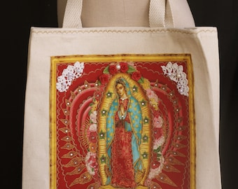 Virgen de Guadalupe, Applique, Tote Bag, Bohemian Canvas Tote, Mexican Handbag