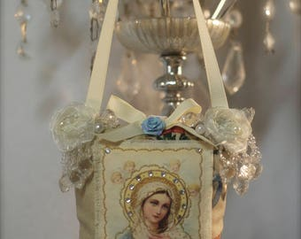 Virgen Mary, Virgen de Guadalupe, Religious Pillow , Hanging Ornament, Mexican Boho