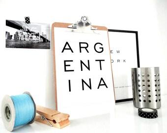 Printable Print Argentina, Minimal Wall Art, Argentina Poster, Typography Art Print, Argentina Print, Country Map, Digital Print, PDF & JPG