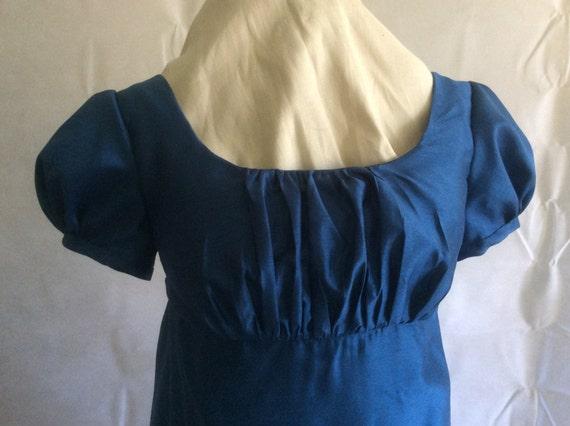 Regency Dress, Gown. Jane Austen. Ocean Blue Faux Silk
