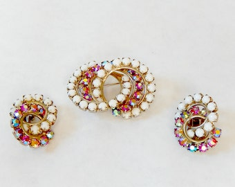 Vintage Red Aurora Borealis Demi Parure Brooch and Earrings Red and White Prong Set Rhinestones Interlocking Circle Brooch and Clip Earrings