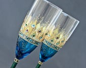 Champagne Wedding Peacock Glasses, Toasting Champagne Flutes, Hand Painted Set of 2