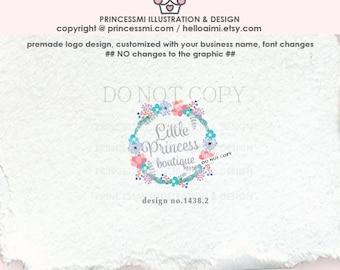 1438-2 wreath logo, floral logo, custom logo, Premade Logo Design, boutique logo, photography logo watermark. handmade shop, handcraft
