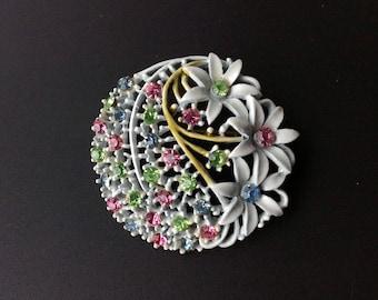 Pastel Rhinestone White Enamel Flower Brooch