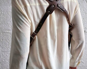 Premium Unisex Leather Shoulder Holster - Brown/Black - steampunk - burning man - travel - apocalypse - please read description for sizes