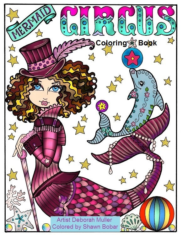 Mermaid Circus Coloring Book Adult Coloring All Ages Fantasy-6745