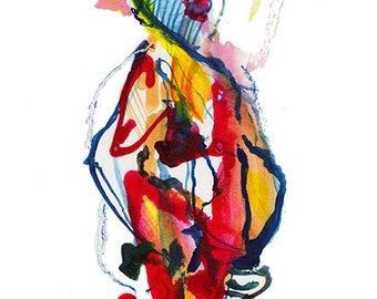 "Original Watercolor, Abstract Figure Painting, Surreal Art, Fashion Illustration, Gouache, 6"" x 12"" - B12"