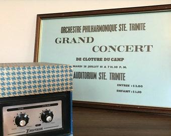 vintage philharmonic concert poster framed french haiti