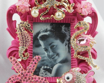 Pretty in Pink, Jeweled, Rhinestone and Crystals, Sealife Themed Ornate Pink Picture Frame, All Occasion Gift