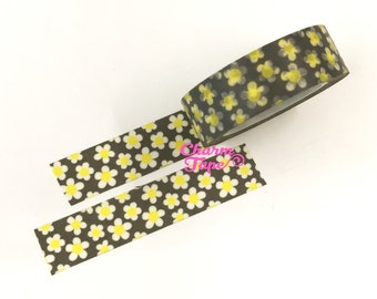 White daisy Washi Tape 15mm x 10 meters WT353