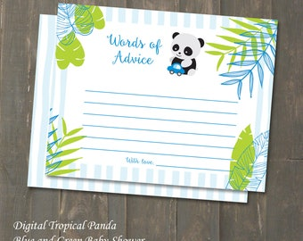 Baby Shower Advice Cards - Tropical Panda Blue and Green Boy Baby Shower Instant Download A2 Words of Advice for Mom - DIY
