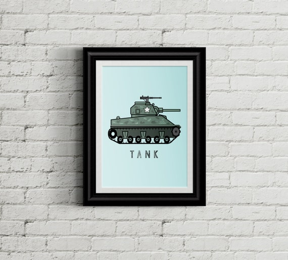 Army Wall Art Tank For Kid's Bedroom Military Boys Room