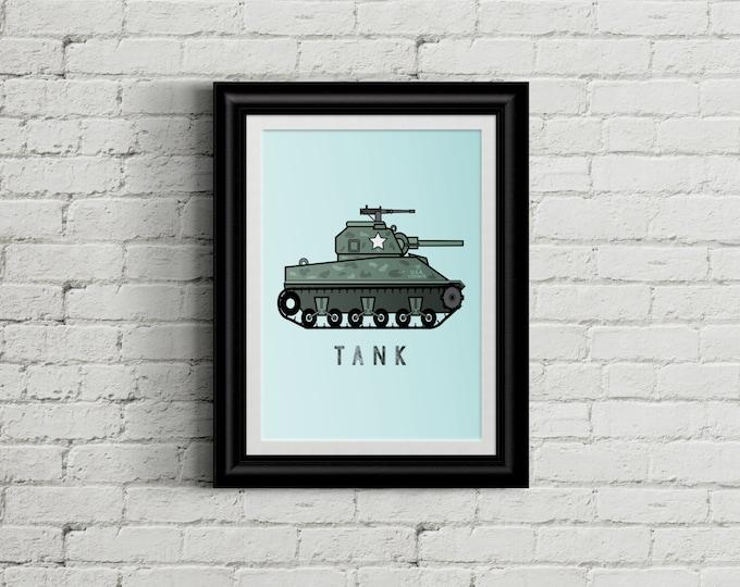 Army Wall Art Tank for Kid's Bedroom- Military Boys Room Decor - Army Men Room Decor - Camo Nursery Decor