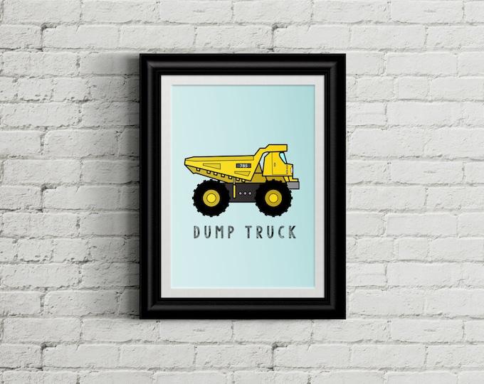 Dump Truck Kid's Bedroom Wall Art - Construction Boys Bedroom Decor - Heavy Machinery Room Decor - Boys Nursery Decor