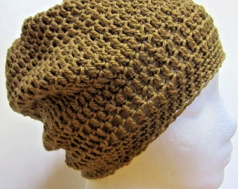 Brown Slouchy Hat, Big Cap, Oversize, Stretchy, Teens, Big Hair, Crochet, Dreadlocks, Mans, Womens, Steampunk, Trending, Easter, Spring