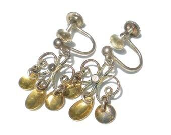 Sterling Silver Solje Screwback Earrings Norwegian Wedding Earrings Silver and Gold Vintage Jewelry Scandinavian