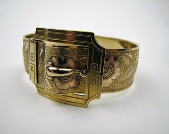 Victorian Gold Fill Belt Buckle Bracelet. Wide Antique Wedding Bracelet. Engraved Flowers Foliage. Signed Marsh. Antique Victorian Jewelry