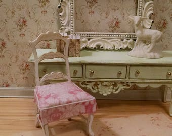 French Shabby Chic Style Side Chair Miniature Dollhouse Furniture Scale 1:12