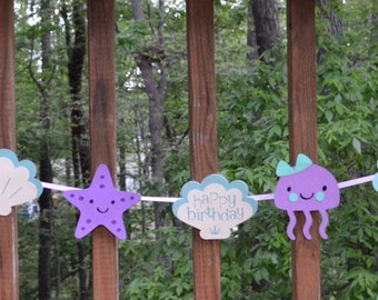 READY TO SHIP Purple & Teal Under the Sea Party Decoration Sea Creature Garland Happy Birthday Photo Prop Teal Purple Party Banner Backdrop