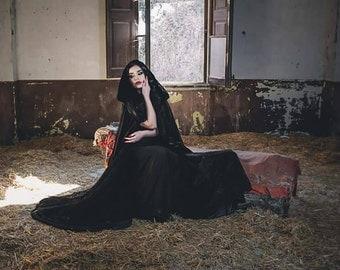 Black Cape stretch Velvet Costume Cape Fairytale Fantasy Cloak druid witch wicca SALE