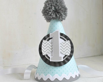 Boy Chevron Party Hat | Little Man | Grey, Pale Blue and Black | Bow Tie  | Little Man Birthday Hat | Bow | Birthday Party | First Birthday