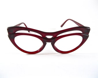MOSCHINO by Persol double cat eye glasses. Rare M21 cherry red style avant garde eyeglass sunglass frames.
