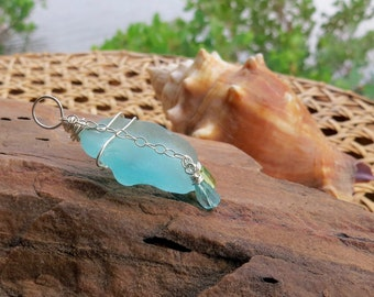 sea glass pendant . AQUA WHIDBEY . blue pendant . found sea glass . ocean pendant . island pendant . beach pendant . one of a kind pendant