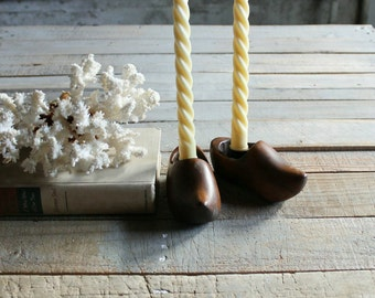Pair of Vintage Wooden Dutch Shoe Candle Stick Holders