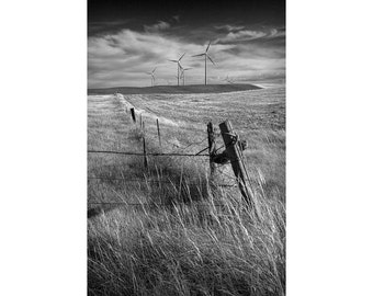 Wind Turbines and Fence Corner in a Field in Southern Alberta Canada No.1951 A Black and White Fine Art Landscape Photograph